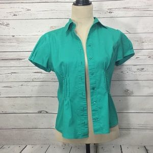The Limited Womens Blouse Green Career Size Small
